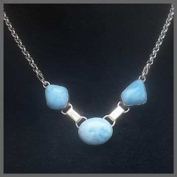 3 Stone Side-on Oval Larimar Necklace